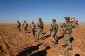 U.S. and Turkish soldiers conduct the first-ever combined joint patrol outside Manbij, Syria, November 1, 2018. Picture taken November 1, 2018. Courtesy Arnada Jones/U.S. Army/Handout via REUTERS  ATTENTION EDITORS – THIS IMAGE HAS BEEN SUPPLIED BY A THIRD PARTY.