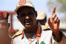 The head of SudanÕs Rapid Support Forces (RSF), General Muhammad Hamdan Daqlu, speaks during a news conference at the RSF headquarters outside Khartoum, Sudan November 5, 2017. REUTERS/Mohamed Nureldin Abdallah