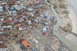 An aerial view of an affected area after a tsunami hit Sunda strait at Sumur village in Pandeglang, Banten province, Indonesia, December 25, 2018 in this photo taken by Antara Foto.  Antara Foto/Muhammad Adimaja/via REUTERS ATTENTION EDITORS – THIS IMAGE WAS PROVIDED BY A THIRD PARTY. MANDATORY CREDIT. INDONESIA OUT.