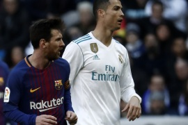 Real Madrid vs Barcelona: La Liga- – MADRID, SPAIN – DECEMBER 23: Cristiano Ronaldo (R) of Real Madrid and Lionel Messi (L) of Barcelona are seen during the La Liga match between Real Madrid and Barcelona at Santiago Bernabeu Stadium in Madrid, Spain on December 23, 2017.