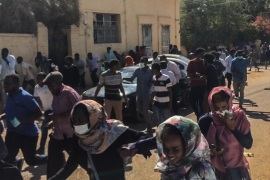 Anti-government demonstration in Sudan- – KHARTOUM, SUDAN – JANUARY 6 :  Sudanese protesters,effected by tear gas, cover their faces during an anti-government demonstration in the capital Khartoum on January 6, 2018.