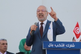 Ahead of Local Elections in Tunisia- – SFAX, TUNISIA – APRIL 28: Leader of the En-Nahda Movement Rached Ghannouchi delivers a speech during a meeting ahead of Local Elections, in Sfax, Tunisia on April 28, 2018.