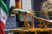 Sacred Defence Week celebrations in Iran- – TEHRAN, IRAN – SEPTEMBER 22: A ballistic missile is seen during a military parade in front of former Supreme Leader of Iran, Ali Khamenei's shrine due to the Sacred Defence Week in Tehran, Iran on September 22, 2017.