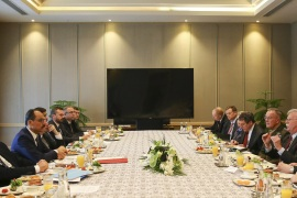 U.S. National Security Adviser John Bolton and delegation in Ankara- – ANKARA, TURKEY – JANUARY 08: Turkish Presidential Spokesman Ibrahim Kalin and Turkish delegations hold a meeting with the U.S. National Security Adviser John Bolton and his delegation at the Presidential Complex in Ankara, Turkey on January 08, 2019.