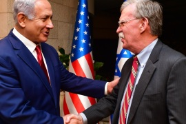 JERUSALEM, ISRAEL – JANUARY 6: (ISRAEL OUT) Israeli Prime Minister Benjamin Netanyahu shakes hands with White House National Security Adviser John Bolton as they meet on January 6, 2019 in Jerusalem, Israel. (Photo by Kobi Gideon/GPO via Getty Images)