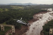 BRUMADINHO, BRAZIL – JANUARY 26:  Aerial view mud-hit area in Corrego do Feijao near the town of Brumadinho in the state of Minas Gerias in southeastern Brazil, on January 26, 2019 a day after the collapse of a dam at an iron-ore mine belonging to Brazil's giant mining company Vale.  It has been reported that at least nine people were killed and around 300 more are missing.  (Photo by Pedro Vilela/Getty Images)