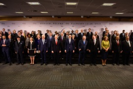 Peace and Security in the Middle East Summit in Poland- – WARSAW, POLAND – FEBRUARY 14: Participants stand for the family photo at the