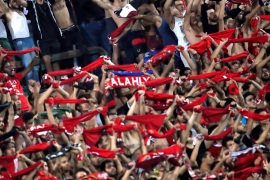 Soccer Football – CAF Champions League Quarter-Final – Al Ahly vs Horoya – Al-Salam Stadium, Cairo, Egypt – September 22, 2018  Al Ahly fans inside the stadium during the match          REUTERS/Amr Abdallah Dalsh