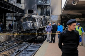Train Accident in Cairo- – CAIRO, EGYPT – FEBRUARY 27 : Security forces take security measures at the scene of a fiery train crash at the Egyptian capital Cairo's main railway station on February 27, 2019. The accident, which sparked a major blaze at the Ramses station, leaves at least 25 dead and 40 others injured.