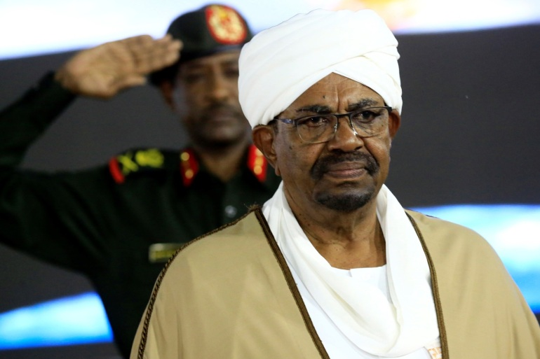 Sudan's President Omar al-Bashir is seen before delivering a speech at the Presidential Palace in Khartoum, Sudan February 22, 2019. REUTERS/Mohamed Nureldin Abdallah