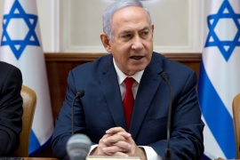 Israeli Prime Minister Benjamin Netanyahu attends the weekly cabinet meeting at the Prime Minister's office in Jerusalem February 17, 2019. Sebastian Scheiner/Pool via REUTERS *** Local Caption ***