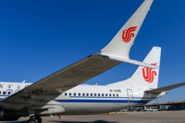 A Boeing 737 MAX 8 aircraft of Air China sits on the tarmac at an airport in Beijing, China March 11, 2019.  REUTERS/Stringer  ATTENTION EDITORS – THIS IMAGE WAS PROVIDED BY A THIRD PARTY. CHINA OUT.