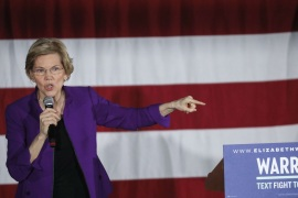 NEW YORK, NY – MARCH 08: Sen. Elizabeth Warren (D-MA), one of several Democrats running for the party's nomination in the 2020 presidential race, speaks during a campaign event, March 8, 2019 in the Queens borough of New York City. On Friday, Warren released a new regulatory proposal aimed at breaking up some of the nation's biggest technology companies, including Amazon, Google and Facebook. Warren's event on Friday evening took place less than a mile from where Ama