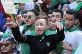 Algerian students' protest against officials affiliated with the regime of Bouteflika- – ALGIERS, ALGERIA – APRIL 16: Students stage a demonstration demanding the departure of all government officials affiliated with former President Abdelaziz Bouteflika, in Algiers, Algeria on April 16, 2019.