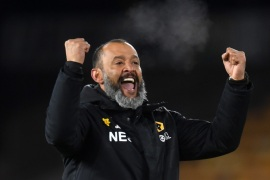 WOLVERHAMPTON, ENGLAND – APRIL 02:  Nuno Espirito Santo, Manager of Wolverhampton Wanderers celebrates following his sides victory in the Premier League match between Wolverhampton Wanderers and Manchester United at Molineux on April 02, 2019 in Wolverhampton, United Kingdom. (Photo by Michael Regan/Getty Images)