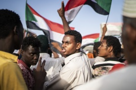 KHARTOUM, SUDAN – APRIL 27: Protestors arrive in the main gathering point to protest against the military junta on April 27, 2019 in Khartoum, Sudan. After months of protesting from the people of Sudan, organised by the Sudanese Professionals' Association (SPA), President Omar al-Bashir was ousted having been in power since 1989. The following day they also forced his successor, Awad Ibn Auf, to step down. The SPA and the people have organised a sit in at the Ministry of Defence calling for the