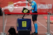 Soccer Football – Ligue 1 – AS Monaco vs Bordeaux – Stade Louis II, Monaco – March 9, 2019  Referee Francois Letexier refers to VAR review before disallowing a goal scored by AS Monaco's Carlos Vinicius   REUTERS/Eric Gaillard