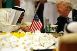 U.S. President Donald Trump shakes hands with Abu Dhabi Crown Prince and Deputy Supreme Commander of the United Arab Emirates (UAE) Armed Forces Mohammed bin Zayed al-Nahayan as he sits down to a meeting with of Gulf Cooperation Council leaders during their summit in Riyadh, Saudi Arabia May 21, 2017. REUTERS/Jonathan Ernst