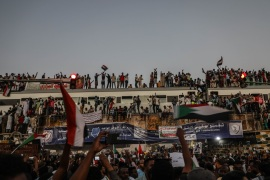 Demonstrations in Sudan- – KHARTOUM, SUDAN – APRIL 23: Thousands of Sudanese demonstrators from Atbara province arrive by train to participate in a demonstration on April 23, 2019 in Khartoum, Sudan. Sudanese demonstrators gathered in front of military headquarters during a demonstration demanding a civilian transition government, in Khartoum.