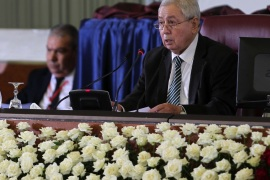 Abdelkader Bensalah appointed as interim president of Algeria- – ALGIERS, ALGERIA – APRIL 09: Algerian upper house chairman Abdelkader Bensalah (R) is seen after being appointed as interim president by Algeria's parliament, following the resignation of Abdelaziz Bouteflika in Algiers, Algeria April 9, 2019.