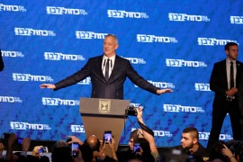 Benny Gantz, head of Blue and White party, gestures as he delivers a speech following the announcement of exit polls in Israel's parliamentary election at his party headquarters in Tel Aviv, Israel April 10, 2019. REUTERS/Amir Cohen
