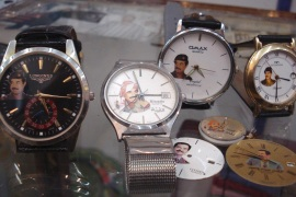Fake brand watches with pictures of Iraq's former president Saddam Hussein are on display in a shop in this Tikrit March 14, 2008 file photo. Five years after the fall of Hussein, his memory lives on through wrist watches as people in his home town and birth village seek reminders of a time of safety, jobs and cheap living. To match feature IRAQ-WAR/AWJA REUTERS/Sabah al-Bazee/Files (IRAQ) BEST QUALITY AVAILABLE