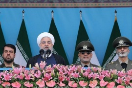 Iranian President Hassan Rouhani delivers a speech during the ceremony of the National Army Day parade in Tehran, Iran April 18, 2019. Tasnim News Agency/via REUTERS ATTENTION EDITORS – THIS PICTURE WAS PROVIDED BY A THIRD PARTY