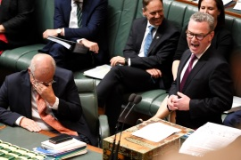 CANBERRA, AUSTRALIA – APRIL 04: Leader of the House Christopher Pyne makes his valedictory speech which causes the Prime Minister Scott Morrison to laugh during Question Time in the House of Representatives at Parliament House on April 04, 2019 in Canberra, Australia. The Morrison government's first budget was released on Tuesday, delivering a surplus of $7.1bn, the first surplus in 12 years. Treasurer Josh Frydenberg has focused on tax cuts for middle income earners and 100 billion to be spent on infrastructure as well as increased spending on health, mental health, aged care and skills. (Photo by Tracey Nearmy/Getty Images)