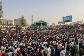 Demonstrations in Sudan- – KHARTOUM, SUDAN – APRIL 18: Sudanese demonstrators gather in front of military headquarters during 13th days of continuing demonstrations demanding a civilian transition government, in Khartoum, Sudan on April 18, 2019.