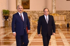Libyan military commander Khalifa Haftar walks with Egyptian President Abdel Fattah al-Sisi at the Presidential Palace in Cairo, Egypt April 14, 2019 in this handout picture courtesy of the Egyptian Presidency. The Egyptian Presidency/Handout via REUTERS ATTENTION EDITORS – THIS IMAGE WAS PROVIDED BY A THIRD PARTY.
