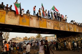 Ramadan in Sudan- – KHARTOUM, SUDAN – MAY 06: Sudanese demonstrators attend the ongoing protests demanding a civilian transition government in front of military headquarters, on the first day of Holy month of Ramadan in Khartoum, Sudan on May 06, 2019.