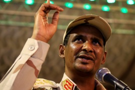 General Mohamed Hamdan Dagalo, head of the Rapid Support Forces (RSF) and deputy head of the Transitional Military Council (TMC) delivers an address after the Ramadan prayers and Iftar organized by Sultan of Darfur Ahmed Hussain in Khartoum, Sudan May 18, 2019. REUTERS/Mohamed Nureldin Abdallah