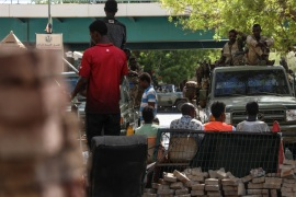 Protest in Sudan- – KHARTOUM, SUDAN – MAY 14 :  Sudanese protesters use barricades to block main roads as they gather to protest over killing of protestors in Khartoum, Sudan on May 14, 2019. On Monday, six protesters were shot dead near an ongoing sit-in protest outside army headquarters in Khartoum.