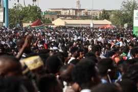 Demonstrations in Sudan- – KHARTOUM, SUDAN – APRIL 26: Sudanese demonstrators gather to protest demanding a civilian transition government in front of military headquarters during ongoing demonstrations in Khartoum, Sudan on April 26, 2019.