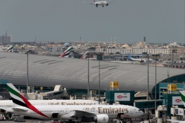 An Emirates Airline plane lands at the Dubai International Airport in Dubai, United Arab Emirates February 15, 2019. REUTERS/Christopher Pike