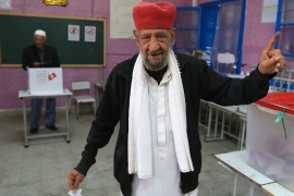 Tunisian local elections- – BEN AROUS, TUNISIA – MAY 06: A man poses for a photo after casting his vote at a polling station during Tunisian local elections, which was held first time after 2011 Arab Spring revolution, in Ben Arous, Tunisia on May 06, 2018.