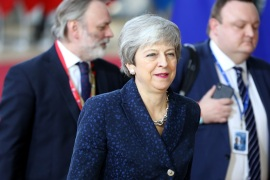 European Council summit in Brussels- – BRUSSELS, BELGIUM – MARCH 21: Britain's Prime Minister Theresa May arrives at the European Council summit in Brussels, Belgium, 21 March 2019.
