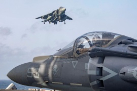 U.S. Marine Corps AV-8B Harriers return to the flight deck of the U.S. Navy Wasp-class amphibious assault ship USS Kearsarge after participating in an exercise with F/A-18E Super Hornets embarked aboard the Nimitz-class aircraft carrier USS Abraham Lincoln in the Arabian Sea May 18, 2019. Picture taken May 18, 2019. U.S. Navy/Mass Communication Specialist 2nd Class Megan Anuci/Handout via REUTERS.  ATTENTION EDITORS – THIS IMAGE WAS PROVIDED BY A THIRD PARTY
