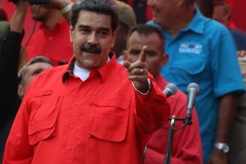 Pro-government rally in Venezuela- – CARACAS, VENEZUELA – MAY 1: Venezuelan President Nicolas Maduro makes a speech during a pro-government march near to the Miraflores Palace in Caracas, Venezuela, on May 1, 2019.