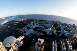 The Nimitz-class aircraft carrier USS Abraham Lincoln (CVN 72) breaks away from the fast combat support ship USNS Arctic (T-AOE 8) after an underway replenishment-at-sea in the Mediterranean Sea in this April 29 2019 photo supplied by the U.S. Navy. U.S. Navy/Mass Communication Specialist 3rd Class Garrett LaBarge/Handout via REUTERS ATTENTION EDITORS -THIS IMAGE WAS PROVIDED BY A THIRD PARTY