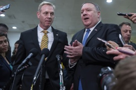 epa07590392 US Secretary of State Mike Pompeo (R) and Acting Defense Secretary Patrick Shanahan (L) speak to the new media after giving a classified intelligence briefings on Iran to members Congress at the Capitol in Washington, DC, USA, 21 May 2019. The administration of President Trump briefed Congress on intelligence that has prompted the US military build up against reported Iranian threats in the Persian Gulf region. EPA-EFE/ERIK S. LESSER