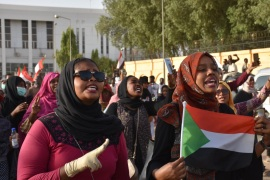 Demonstrations in Sudan- – KHARTOUM, SUDAN – APRIL 27: Sudanese demonstrators gather to protest Egyptian President Abdel-Fattah al-Sisi in front of the Embassy of Egypt during ongoing demonstrations in Khartoum, Sudan on April 27, 2019.