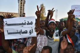 Demonstrations in Sudan- – KHARTOUM, SUDAN – APRIL 21: Sudanese demonstrators gather in front of military headquarters during a demonstration after The Sudanese Professionals Association's (SPA) call, demanding a civilian transition government, in Khartoum, Sudan on April 21, 2019.