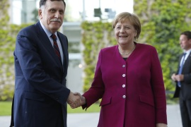 BERLIN, GERMANY – MAY 07: German Chancellor Angela Merkel (CDU), welcomes Libyan Prime Minister Fayez Al Sarraj in the courtyard of the Chancellery on May 7, 2019 in Berlin, Germany. (Photo by Michele Tantussi/Getty Images)