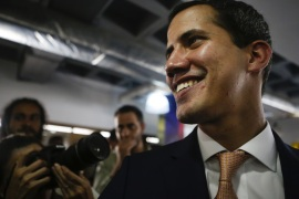CARACAS, VENEZUELA – MAY 09: Venezuelan opposition leader Juan Guaidó, recognized by many members of the international community as the country's rightful interim ruler talks to media during a press conference at Centro Plaza on May 9, 2019 in Caracas, Venezuela. Guaidó called for a press conference after recent attempts to arrest members of the National Assembly. (Photo by Eva Marie Uzcategui/Getty Images)
