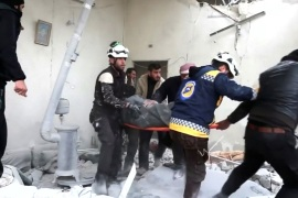 Civil defence forces carry an injured person on stretcher through rubble, after an air strike on location targeted by government forces, in Khan Sheikhoun, Idlib, Syria February 26, 2019, in this still image taken from video. ReutersTV/via REUTERS ATTENTION EDITORS – THIS IMAGE WAS PROVIDED BY A THIRD PARTY. IT WAS PROCESSED BY REUTERS TO ENHANCE QUALITY. NO RESALES. NO ARCHIVES.