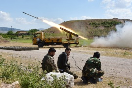 FSA retaliate against YPG/PKK attacks in Syria- – ALEPPO, SYRIA – MAY 09: A missile vehicle of Free Syrian Army (FSA) launches a missile to hit the points of Assad regime and terror groups in Aleppo to retaliate against YPG/PKK attacks in Idlib de-escalation zone, on May 09, 2019, Aleppo, Syria.
