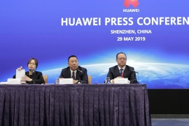 Huawei's Chief Legal Officer Song Liuping (2nd L) and Huawei's Western Europe President Vincent Pang (3rd L) attend a news conference on Huawei's ongoing legal action against the U.S. government's National Defense Authorization Act (NDAA) action at the company's headquarters in Shenzhen, Guangdong province, China May 29, 2019. REUTERS/Jason Lee