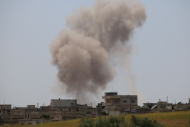 Assad regime hits Syria's Idlib- – IDLIB, SYRIA – MAY 03: Smoke rises from Kefer- Secene village after Assad regime attacks on residential areas in Syria's de-escalation zones, on May 03, 2019 in Idlib, Syria.