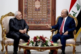 Iraq's President Barham Salih meets with Iranian Foreign Minsiter, Mohammad Javad Zarif, in Baghdad Iraq May 25, 2019. The Presidency of the Republic of Iraq Office/Handout via REUTERS ATTENTION EDITORS – THIS IMAGE WAS PROVIDED BY A THIRD PARTY.